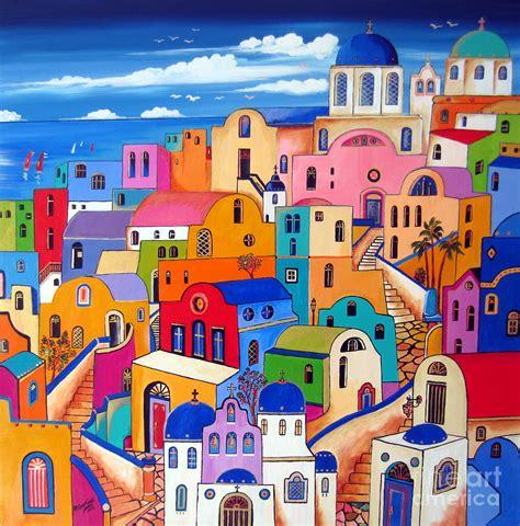Design House Decor Pinterest colours in santorini painting by roberto gagliardi