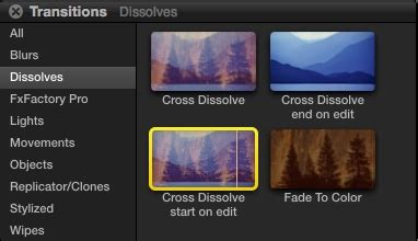 final cut pro transitions final cut pro x transition effects dissolves start and
