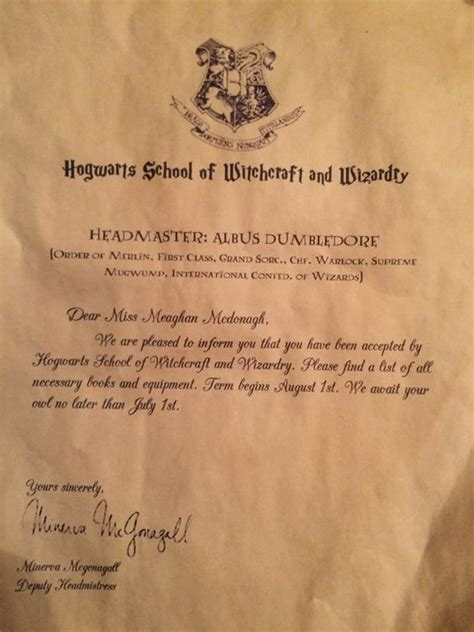 Harry Potter Hogwarts Personalized Acceptance Letter Free Letters And Hogwarts On