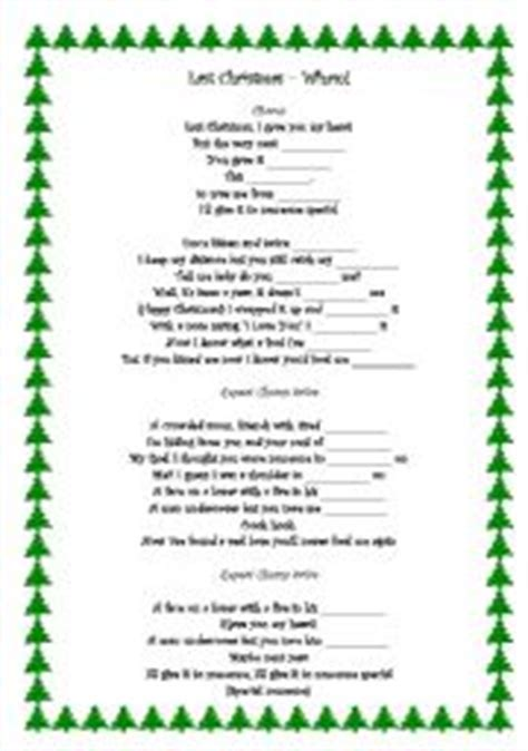 printable lyrics last christmas wham english worksheet last christmas wham