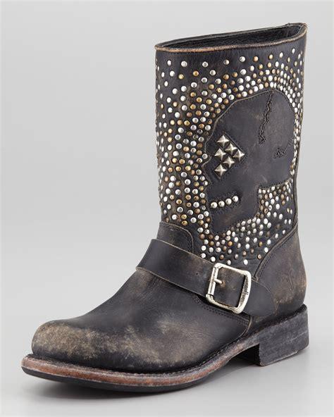 skull boots lyst frye studded skull boot black in black