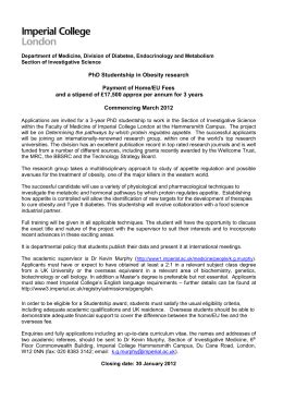 Imperial College Acceptance Letter mrc phd studentship in pre