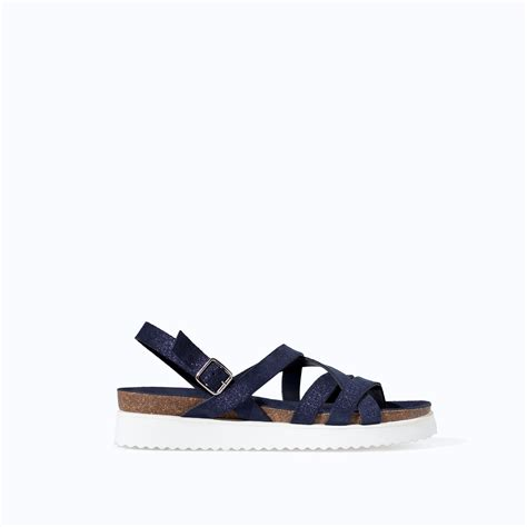 zara leather sandals zara strappy leather sandal with track sole in blue lyst
