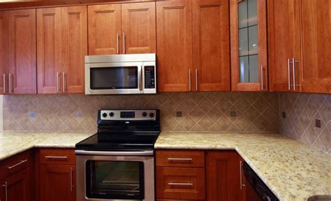 Granite Kitchen Ideas Natural Cherry Cabinets With Granite Shaker Cherry