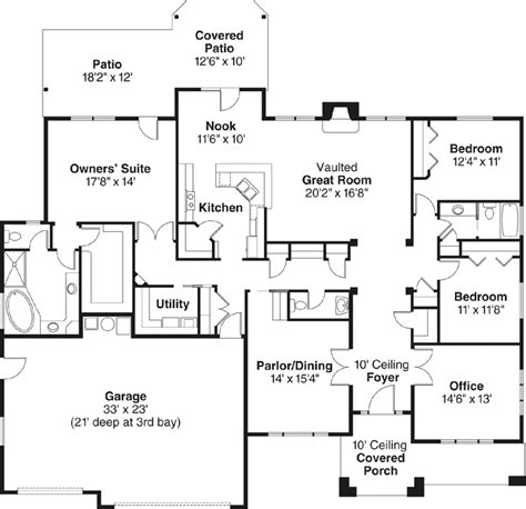 single story house floor plans plan w69022am northwest northwest style house plans 2661 square foot home 1