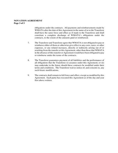 Novation Agreement Letter Novation Agreement Free