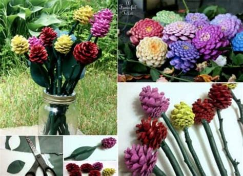 how to make pine cone flowers flower power pinterest pine cone flowers craft watch the video the whoot