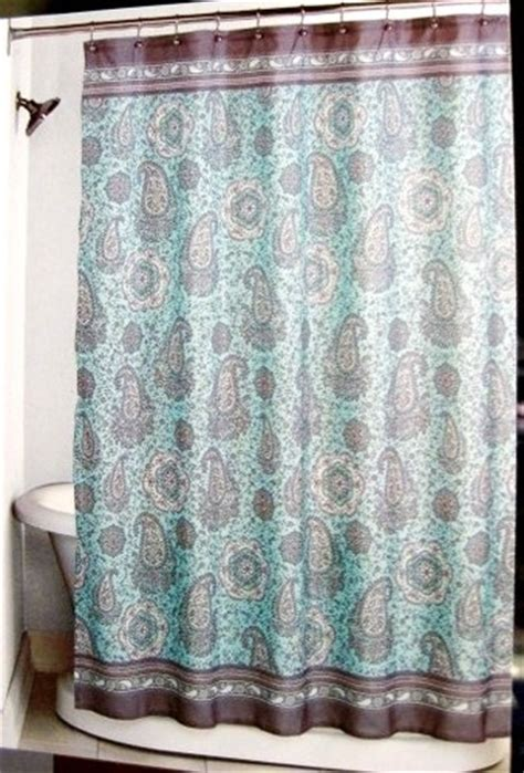 brown turquoise shower curtain fabric peri mosaic paisley pastel aqua brown shower