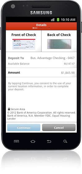 mobile bank deposit mobile banking features offered by bank of america small