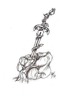 sword in the stone tattoo designs and sword tattoos sword and roses by