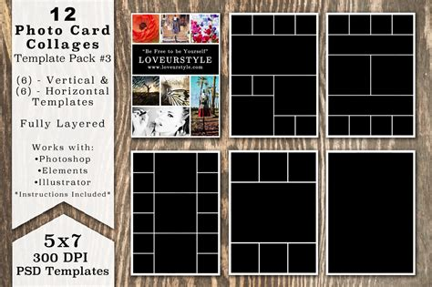Photo Collage Cards Templates 5x7 Photo Card Collage Template Pack Card Templates On Creative Market