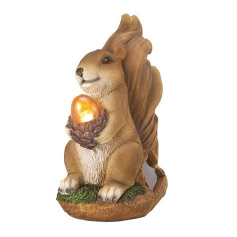 squirrel solar garden statue acorn light