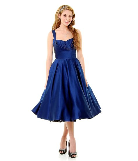 swing dresses vintage navy blue satin happily ever after pleated swing dress