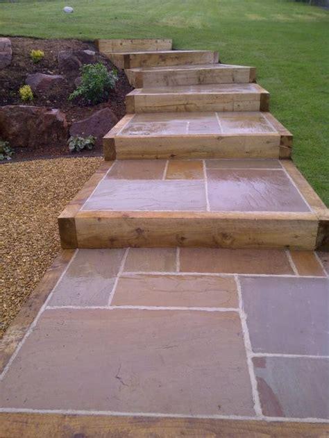 patio edging raj blend indian paving with timber edging david greaves landscape design
