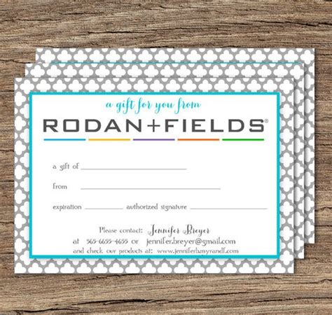 rodan and fields business card template rodan and fields gift certificate printable by