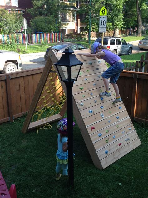 Backyard Climbing Wall by Mincing Thoughts Climbing Play Structure Building A Climbing Wall And Cargo Net