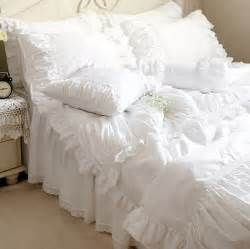 Luxury Lace Bedding Sets Luxury White Lace Ruffle Bedding Set King