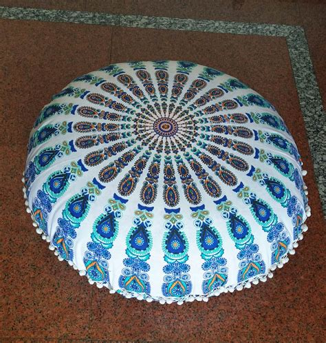 white floor cushion blue green and white large mandala floor cushion cover