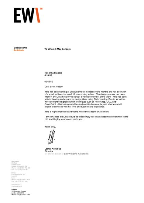 Reference Letter Architecture Student sle recommendation letter for architecture student