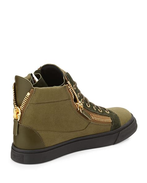 giuseppe zanotti mens sneakers giuseppe zanotti canvas high top sneaker in green for