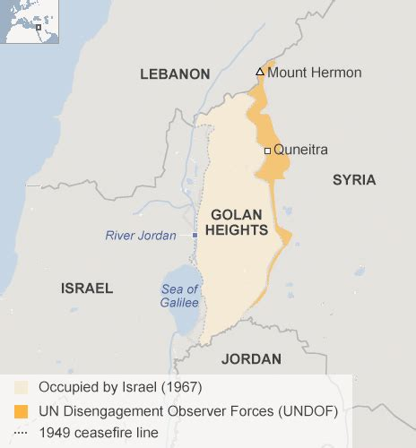 middle east map golan heights map of golan heights