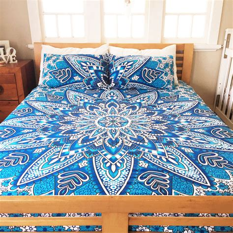 mandala bedding blue heliomeris bohemian mandala bedding duvet cover set