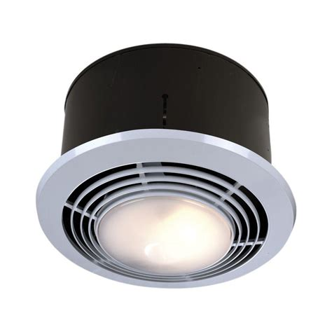 Bathroom Light Heater And Exhaust Fan 70 Cfm Ceiling Exhaust Fan With Light And Heater 9093wh The Home Depot