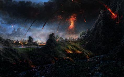 Dreamscape Lighting Fantastic World Fire Volcano Lava Fantasy Landscape