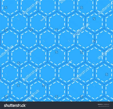 seamless hexagon pattern blue patchwork hexagon stitched quilt seamless stock