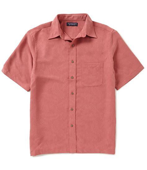 jacquard pattern shirt roundtree yorke short sleeve polynosic jacquard leaf