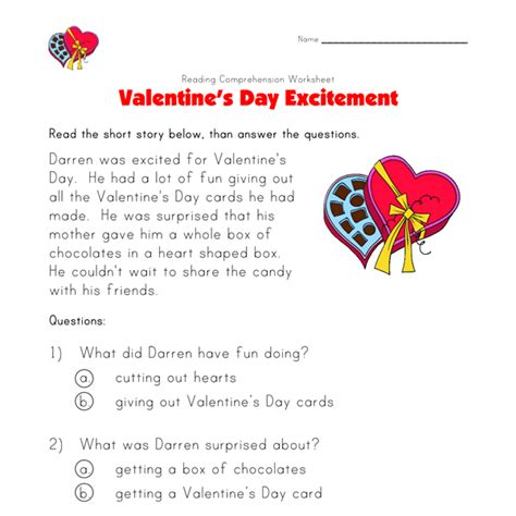 valentines reading comprehension worksheet s day reading comprehension worksheet all
