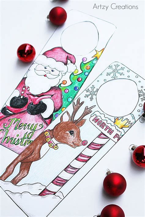 printable christmas door hangers free printable christmas door hangers for kids