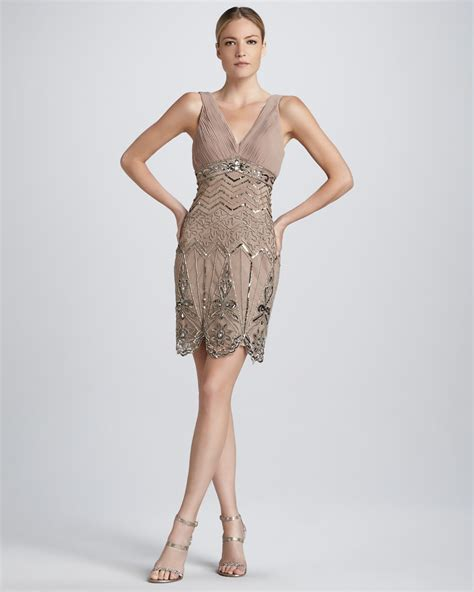 sue wong sleeveless beaded cocktail dress in lyst