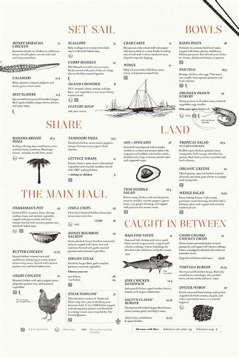 salty menu 17 beste idee 235 n menu layout op menu ontwerp restaurant menu ontwerp