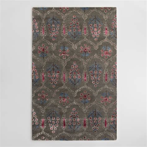 tufted wool area rugs gray floral tufted wool area rug world market