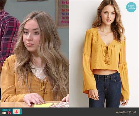 Sabrina Bell Sleeve Top wornontv maya s yellow peasant top on meets world
