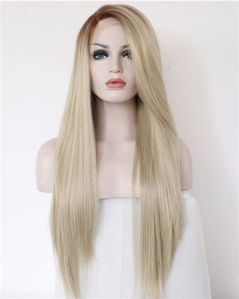 lightened front hair 2017 best seller ash blonde synthetic lace front wigs long