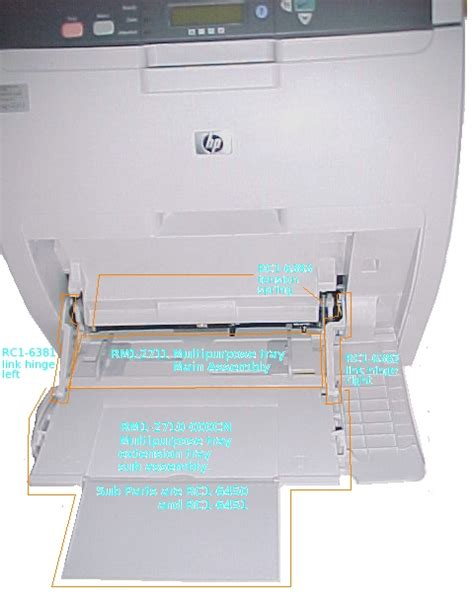 printable area hp printer at the back are sockets for usb and 10 100 ethernet