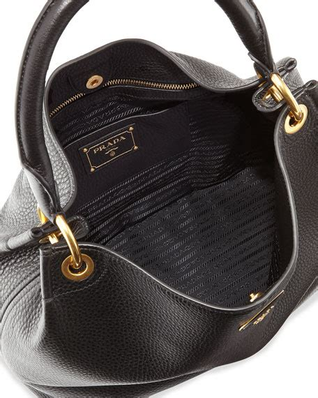 Prada Crispy Hobo Handbag by Prada Vitello Daino Single Hobo Bag Black Nero