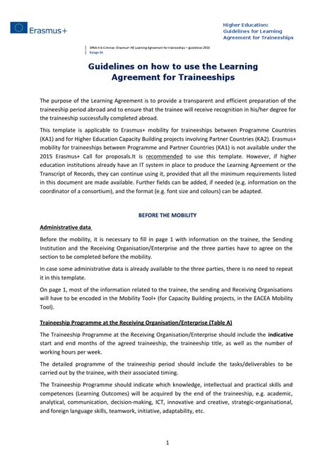 learning agreement template guidelines learning agreement for traineeships 2016 2017
