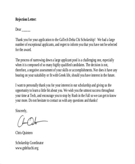 sponsorship thank you letter template rejection thank you letter 9 free word pdf format