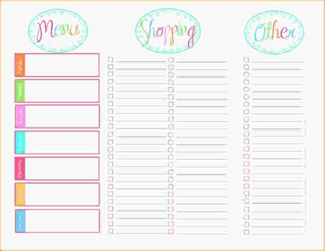printable menu template printable menu template free printable menu planner png