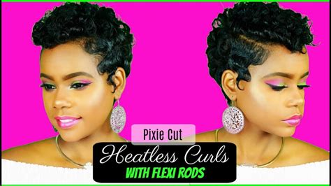 pixie cut with rods heatless curls on relaxed short hair pixie cut flexi