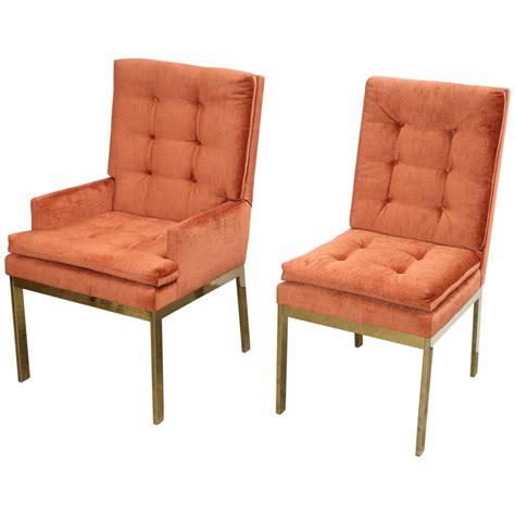 set of six brass orange velvet chenille dining chairs by