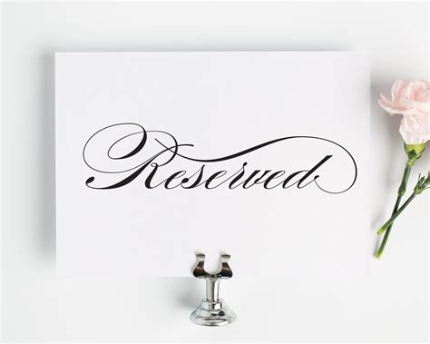 reserved signs for wedding tables reserved sign for wedding reception ceremony or