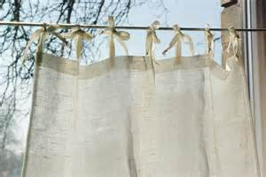 Linen Cafe Curtains Tie Top Curtain Panel White Rustic Linen Style