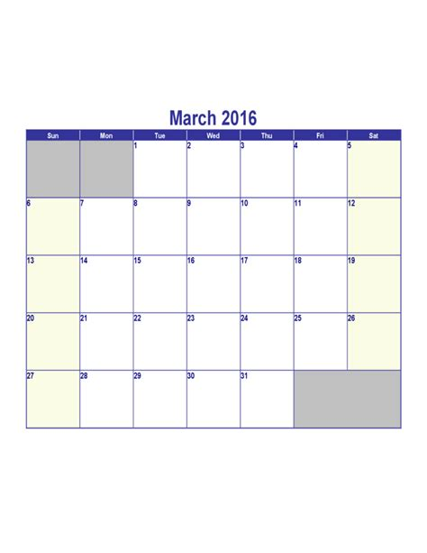 Calendar 2016 March March 2016 Calendar Sle Free