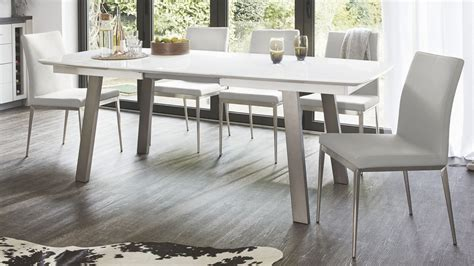 extending white gloss dining table seats 8 brushed metal