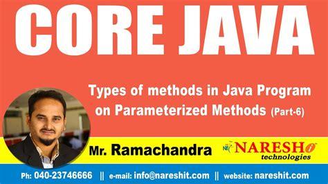 core java pattern program core java tutorial types of methods in java program on