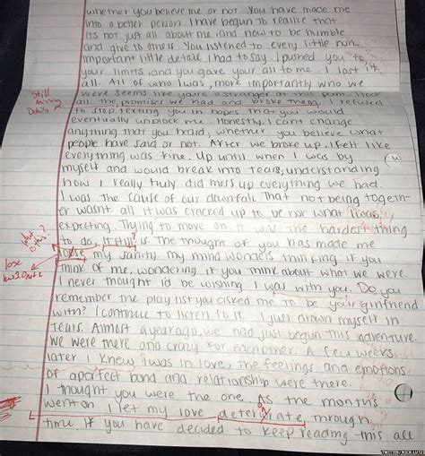 College Letter To Boyfriend ucf student grades his ex s apology letter